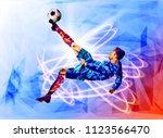 soccer player against the... | Shutterstock .eps vector #1123566470
