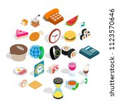 culinary icons set. isometric... | Shutterstock .eps vector #1123570646