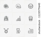 racing line icon set with racer ... | Shutterstock .eps vector #1123579640