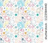 space hand drawn sameless... | Shutterstock .eps vector #1123584440