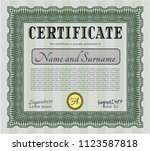 green certificate or diploma... | Shutterstock .eps vector #1123587818