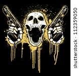Pistol Toting Skull Vector...