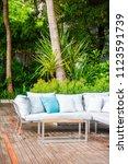comfortable pillow on sofa... | Shutterstock . vector #1123591739