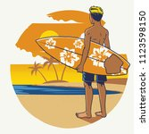 hand drawing surfer with the... | Shutterstock .eps vector #1123598150