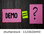 writing note showing  demo.... | Shutterstock . vector #1123626443