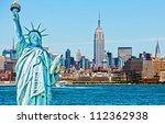 statue of liberty cut out over... | Shutterstock . vector #112362938