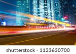 moving car with blur light... | Shutterstock . vector #1123630700