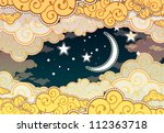 cartoon style night sky | Shutterstock .eps vector #112363718