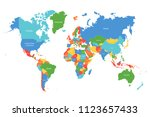 vector world map. colorful... | Shutterstock .eps vector #1123657433