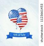 balloons colored as flag usa... | Shutterstock . vector #1123661453