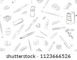 stationery seamless pattern ... | Shutterstock .eps vector #1123666526