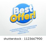 vector bright best offer sign... | Shutterstock .eps vector #1123667900