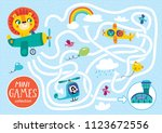 funny maze for children. help... | Shutterstock .eps vector #1123672556