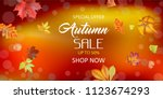 autumn sale background leaves.... | Shutterstock .eps vector #1123674293