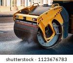 modern heavy asphalt roller...