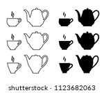 carved  silhouette of teapot... | Shutterstock .eps vector #1123682063