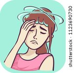 illustration of a sick woman... | Shutterstock .eps vector #1123690730