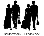 vector drawing couple people on ... | Shutterstock .eps vector #112369229
