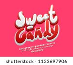 vector cute logo sweet candy.... | Shutterstock .eps vector #1123697906