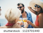 group of cheerful people... | Shutterstock . vector #1123701440