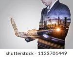 double exposure of engineer... | Shutterstock . vector #1123701449
