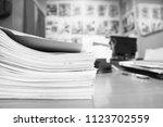 business papers in carton... | Shutterstock . vector #1123702559