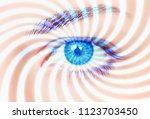 hypnosis spiral in eye | Shutterstock . vector #1123703450