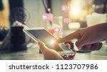 woman phone using social media...   Shutterstock . vector #1123707986