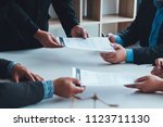 meeting sign contract of... | Shutterstock . vector #1123711130
