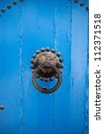 Door detail in steets of Sidi Bou Said, Tunisia - stock photo