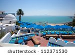Cafe with beautiful view on Sidi Bou Said harbour - stock photo