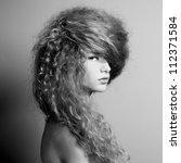 Portrait of beautiful  woman with elegant hairstyle. Fashion photo - stock photo