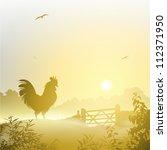 A Misty Morning Landscape With...