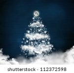 christmas tree made of clouds... | Shutterstock . vector #112372598