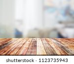 closeup top wood table with... | Shutterstock . vector #1123735943