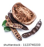 carob pods and carob powder in... | Shutterstock . vector #1123740233