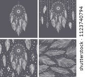 gray and white feathers and... | Shutterstock .eps vector #1123740794
