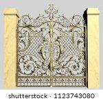 3d model of forged garden gate... | Shutterstock . vector #1123743080