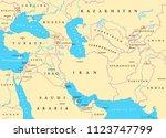southwest asia  political map... | Shutterstock .eps vector #1123747799