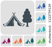 stylized icon of tourist tent.... | Shutterstock .eps vector #1123759139