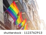gay flags waving on balconies... | Shutterstock . vector #1123762913