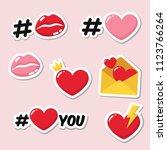 vector set of romantic love... | Shutterstock .eps vector #1123766264