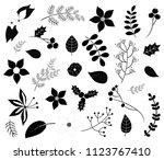 black winter foliage... | Shutterstock .eps vector #1123767410