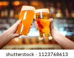 two friends toasting with...   Shutterstock . vector #1123768613