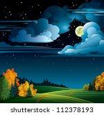 autumn night with yellow full... | Shutterstock .eps vector #112378193