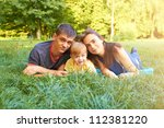 happy beautiful young family... | Shutterstock . vector #112381220