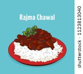 indian traditional food rajma... | Shutterstock .eps vector #1123813040