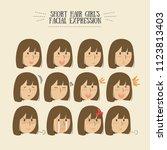 brunette hair girl facial... | Shutterstock .eps vector #1123813403