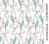 doodle style floral seamless... | Shutterstock .eps vector #1123814069