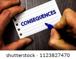 Small photo of Writing note showing Consequences. Business photo showcasing Result Outcome Output Upshot Difficulty Ramification Conclusion Man hold holding marker notebook paper ideas wood wooden background.